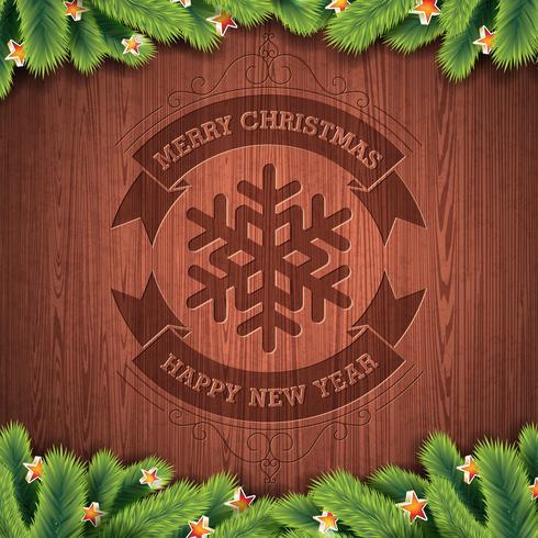 Gegraveerde Vrolijke Kerstmis en Gelukkig Nieuwjaar typografisch ontwerp met spar op houten textuurachtergrond. vector