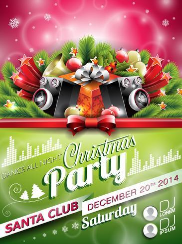 Vector Christmas Party-ontwerp met vakantie typographiy elementen op glanzende achtergrond.