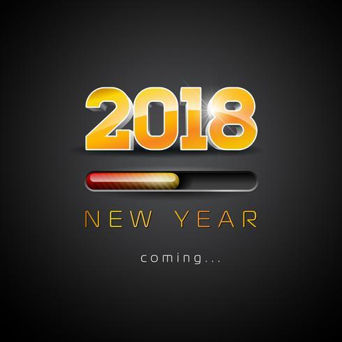 2018 Nieuwjaar komst illustratie met 3D-nummer en voortgangsbalk op zwarte achtergrond. Vector vakantie ontwerp