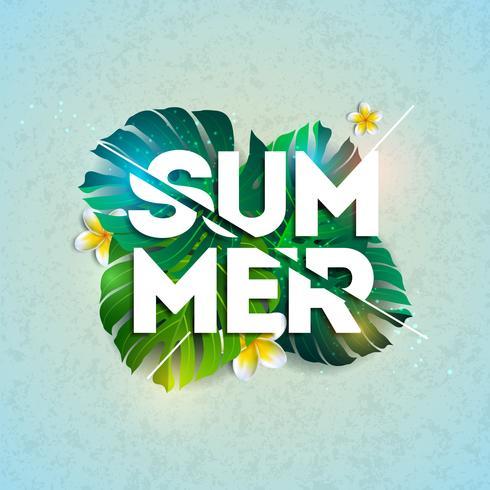 Vector zomervakantie typografische illustratie met exotische bladeren en bloemen op blauwe achtergrond. Tropisch ontwerpsjabloon voor banner, flyer, uitnodiging, brochure, poster of wenskaart.