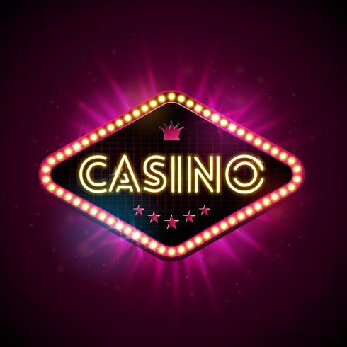 Casinoillustratie met glanzende verlichtingsvertoning en neonlichtbrief op violette achtergrond. Vector gokken ontwerp met voor uitnodiging of promo banner.