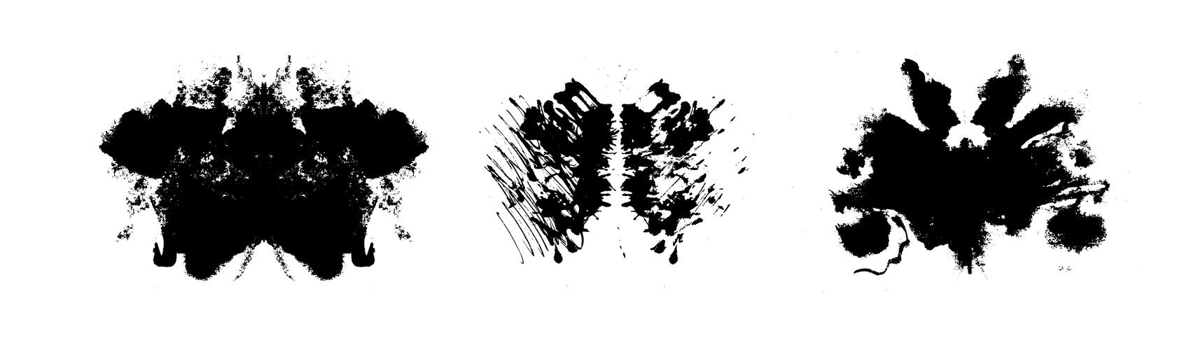 Rorschach inkblot test symmetrische abstracte inktvlekken vector
