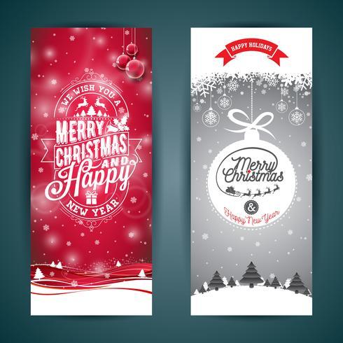Vector Vrolijke Kerstmis en Gelukkige de kaartillustratie van de Nieuwjaargroet met typografisch ontwerp en sneeuwvlokken op de achtergrond van het de winterlandschap.