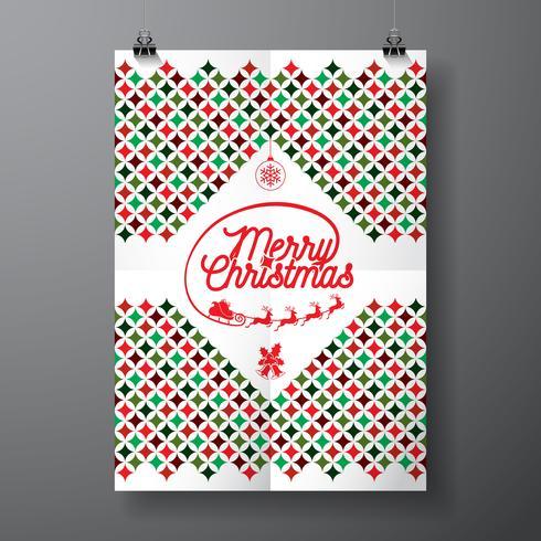Vector Vrolijke Kerstmisvakantie en Gelukkige Nieuwjaarillustratie met typografisch ontwerp en het abstracte patroon van de kleurentextuur op schone achtergrond.