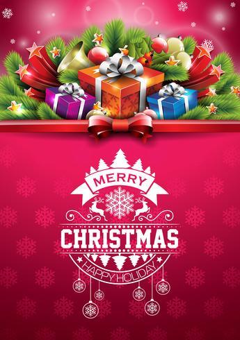 Vector Merry Christmas Happy Holidays illustratie met typografisch ontwerp en geschenk doos op rode sneeuwvlokken patroon achtergrond.