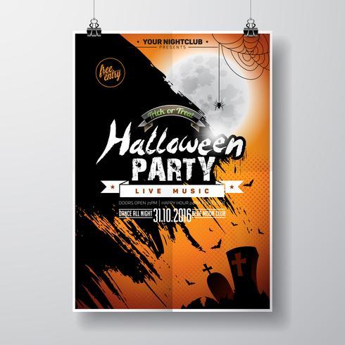 Vector Halloween-Partijvliegerontwerp met typografische elementen op oranje achtergrond.