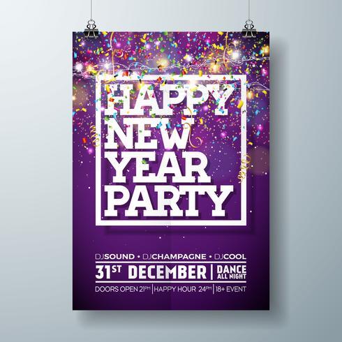 New Year Party viering Poster sjabloon illustratie met typografie Design en dalende confetti op glanzende kleurrijke achtergrond. Vector vakantie Premium uitnodiging Flyer of Promo Banner.