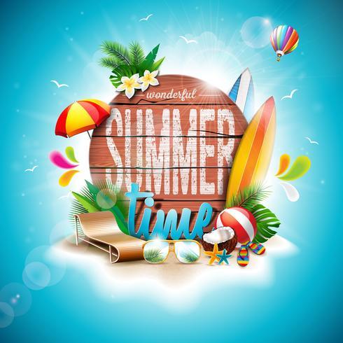 Vector zomertijd vakantie typografische illustratie op vintage houten achtergrond.