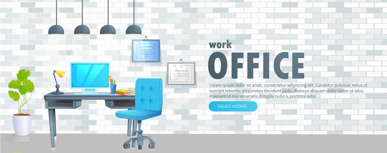 Werkplek met tafel en laptop en koffie vector