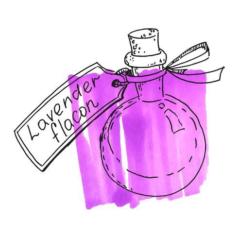 Fles met lavendelessentie vector