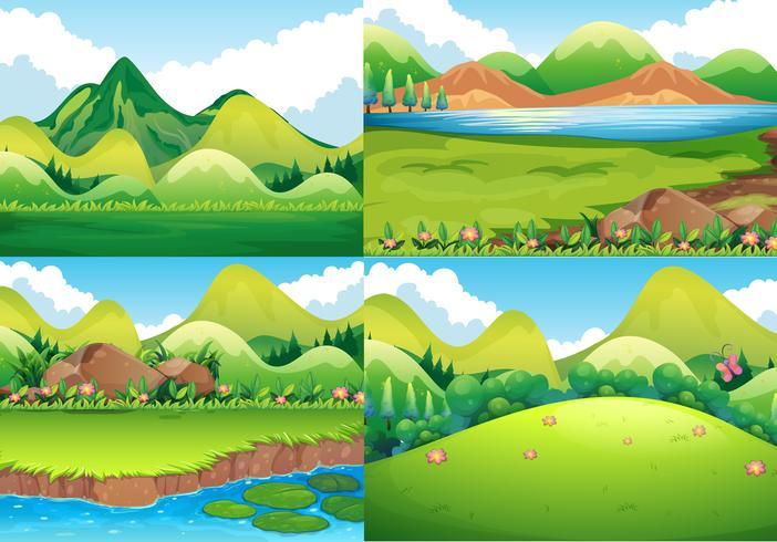 Vier achtergrondscènes met groen gebied en rivier vector
