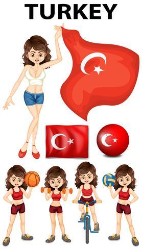 Vlag van Turkije en vrouw atleet vector
