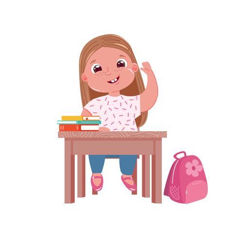 Een klein schattig meisje karakter aan het bureau op les. Schoolmeisje gaat studeren in de lagere school. Boeken en zoete roze tas vector