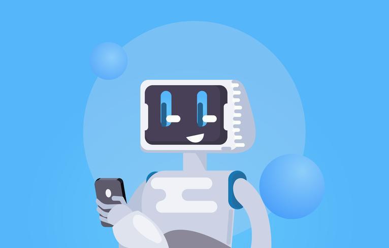 Chat Bot Gratis achtergrond. De robot houdt de telefoon vast, reageert op berichten. Platte vectorillustratie vector