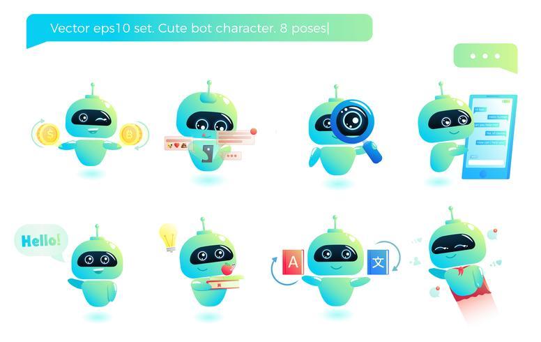 Schattige bot karakter set. Chatbot begroet. Online consultatie. Vector cartoon illustratie