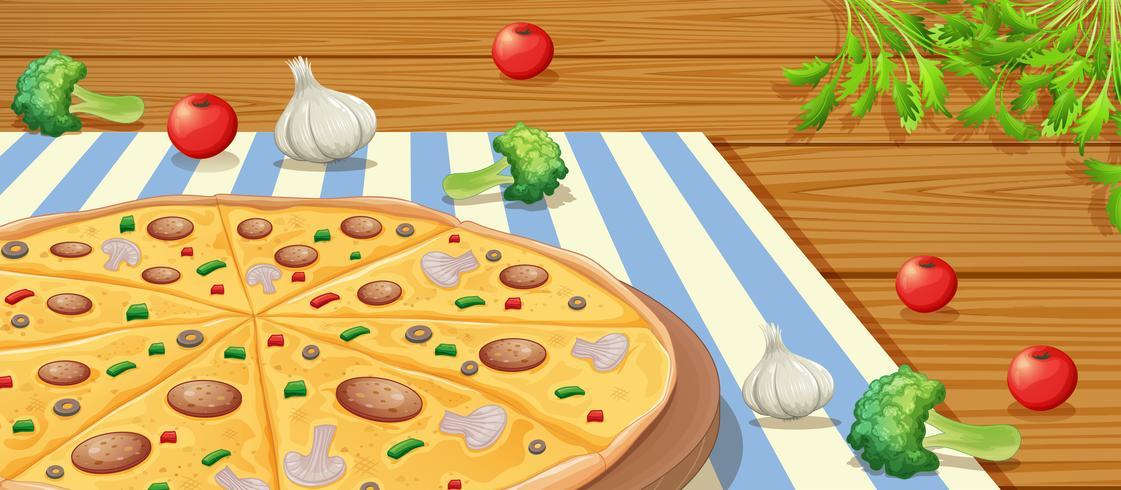 Italiaanse Pepperoni Pizza op tafel vector