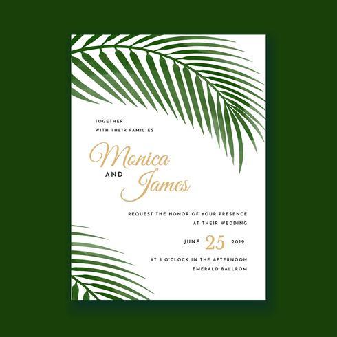 Palmbladeren Water kleur bruiloft uitnodigingskaart vector