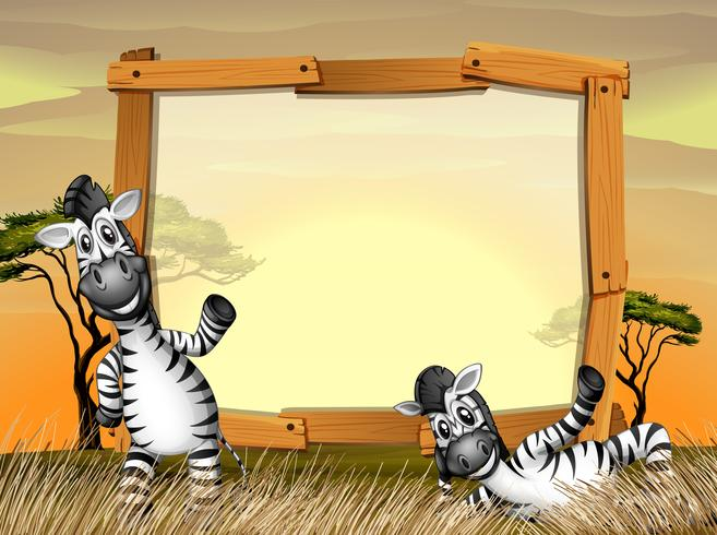Grensontwerp met twee zebra's in het veld vector