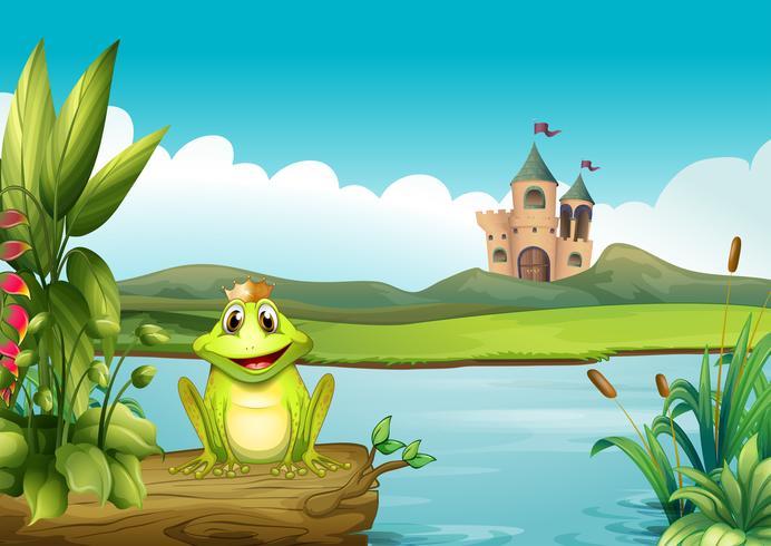 Een kikker met een kroon op de rivier vector