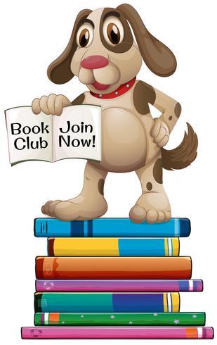 Hond en boeken vector