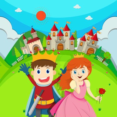 Prins en prinses in het kasteel vector