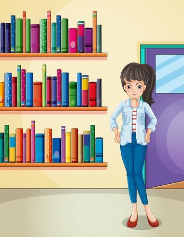 Een mooi meisje in de bibliotheek vector