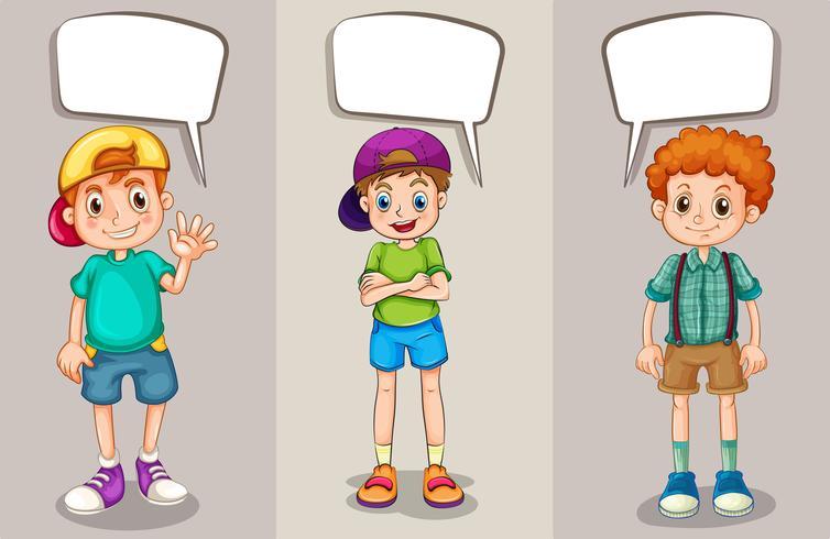Tekstballonnen ontwerpen met drie jongens vector