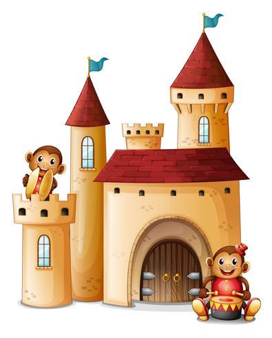 Een kasteel met apen vector