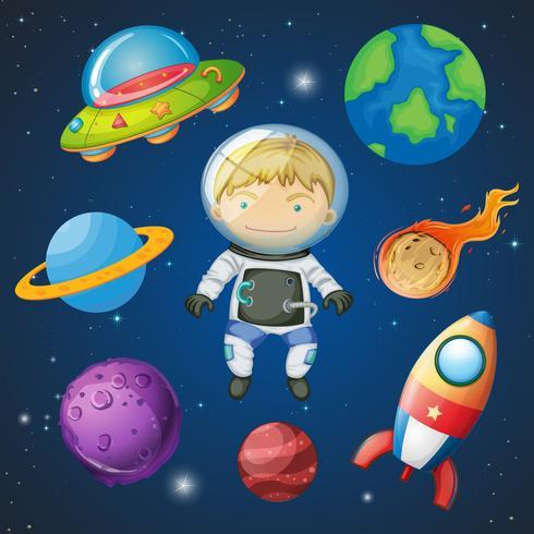 Een astronaut op ruimte vector