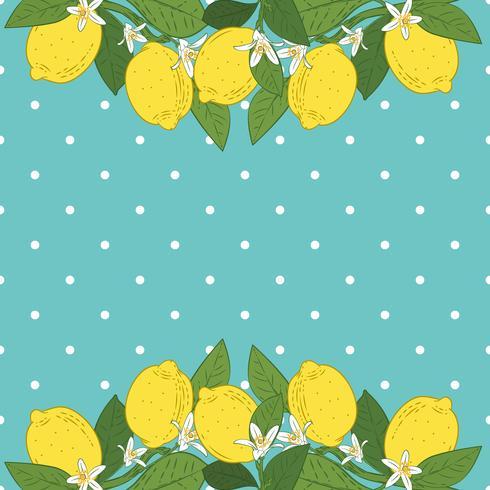 Tropische citrusvruchten citroen fruit lichte achtergrond. Poster met citroenen, groene bladeren en bloemen op turquoise blauwe polka dot. Zomer kleurrijk ontwerp. vector