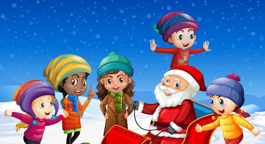 Kinderen en de Kerstman op de winterachtergrond vector