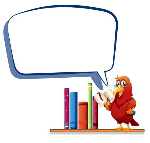 Een papegaai die een boek leest met een lege toelichting vector