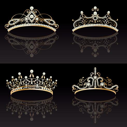 verzameling van vier gouden met parels vrouwelijke tiara's vector