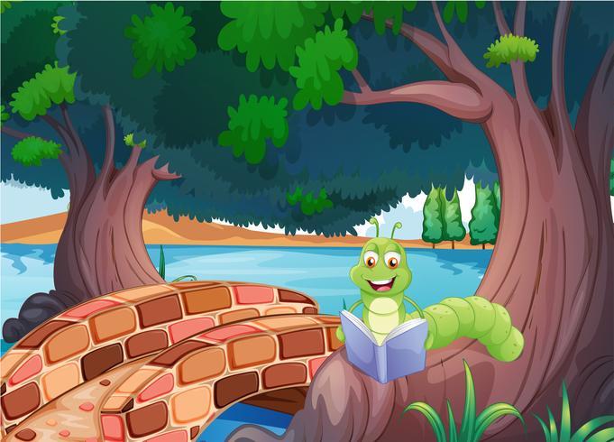 Een worm die een boek leest bij de brug vector