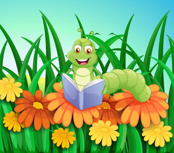 Een worm die een boek leest in de tuin vector
