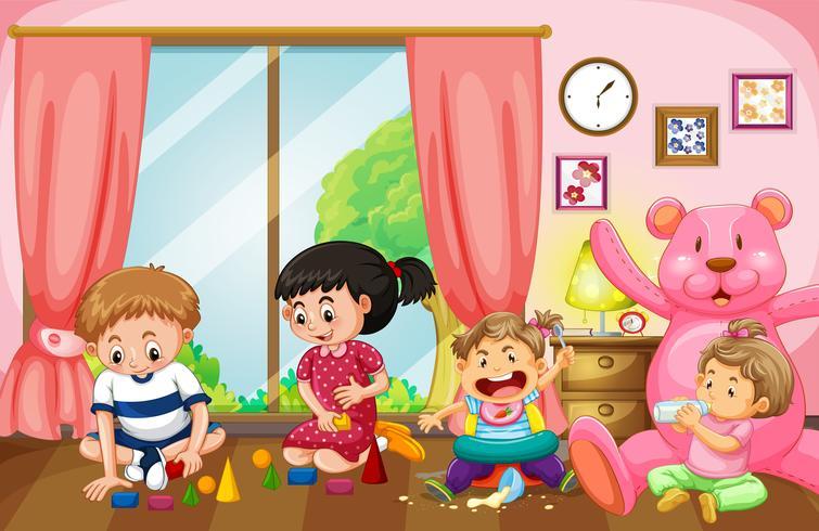 Vier kinderen spelen speelgoed in de woonkamer vector