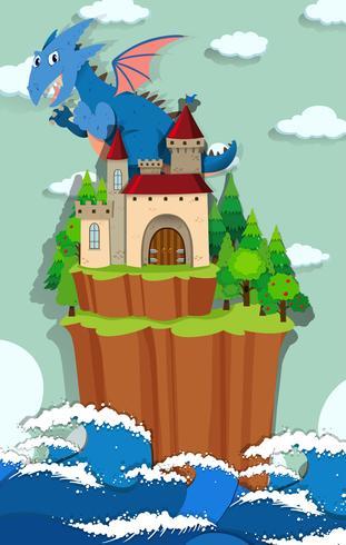 Draak en kasteel op het eiland vector