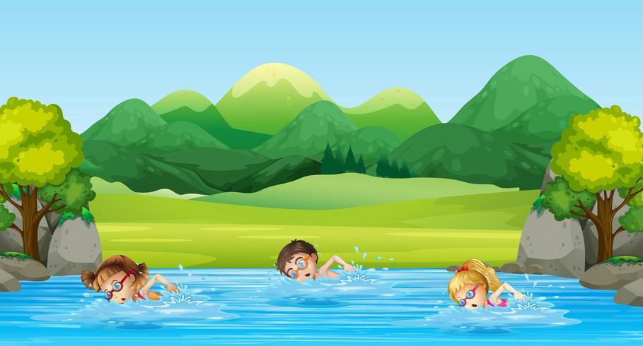 Kinderen zwemmen in de rivier vector