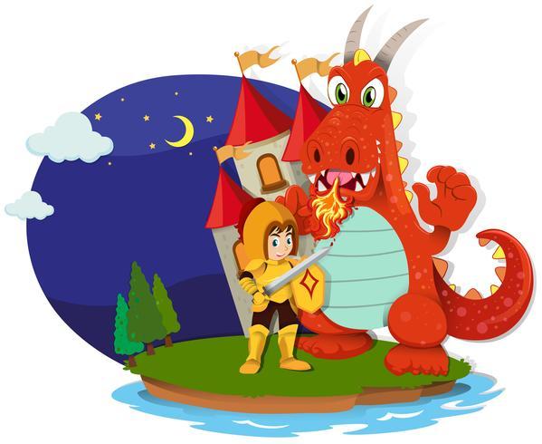 Ridder en draak op het eiland vector