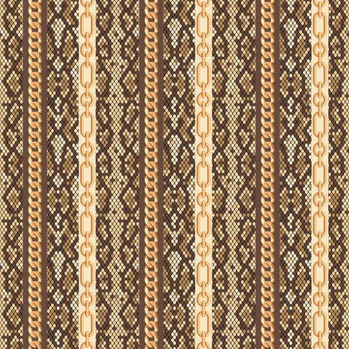 Gouden kettingen slang huid naadloos patroon. Vector illustratie