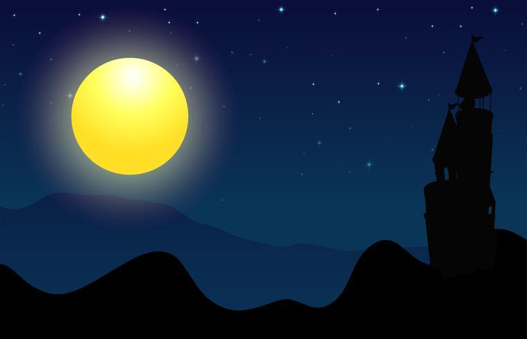 Silhouetscène van kasteel op fullmoon nacht vector