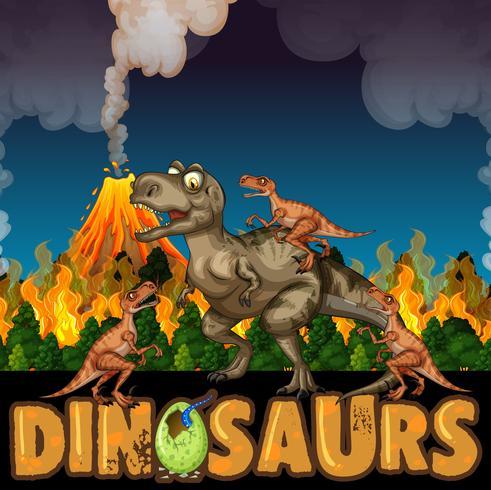 Dinosaurussen rennen weg van vulkanen en bosbranden vector