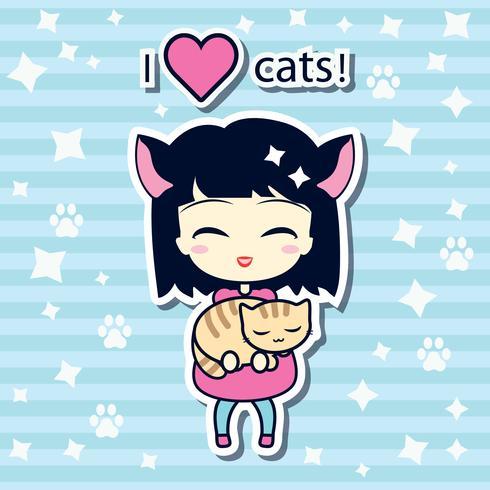 Leuk meisje dat kleine kat houdt vector