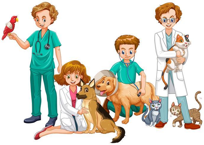 Dierenarts artsen met katten en honden vector