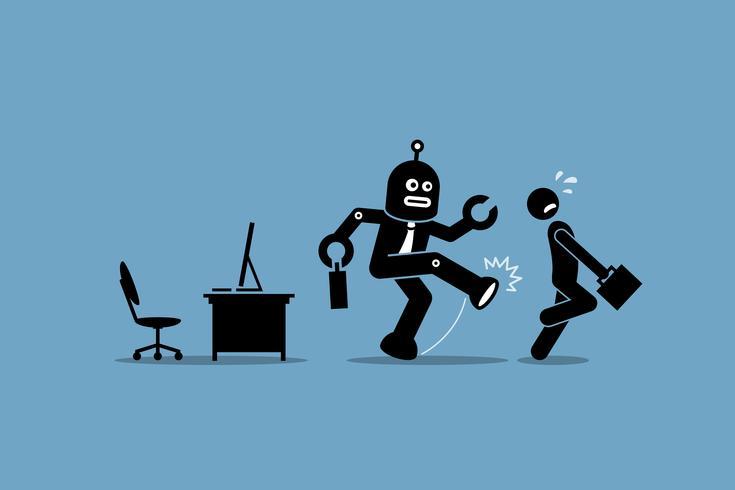 De robotwerknemer schopt een menselijke arbeider van het doen van zijn computerbaan op kantoor. vector