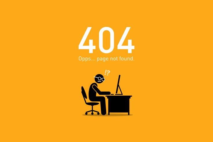 website error 404 pagina niet gevonden. vector