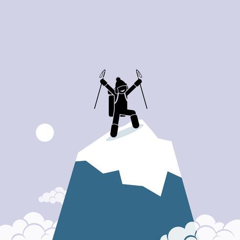 Gelukkige man beklimt met succes op de top van de berg. vector