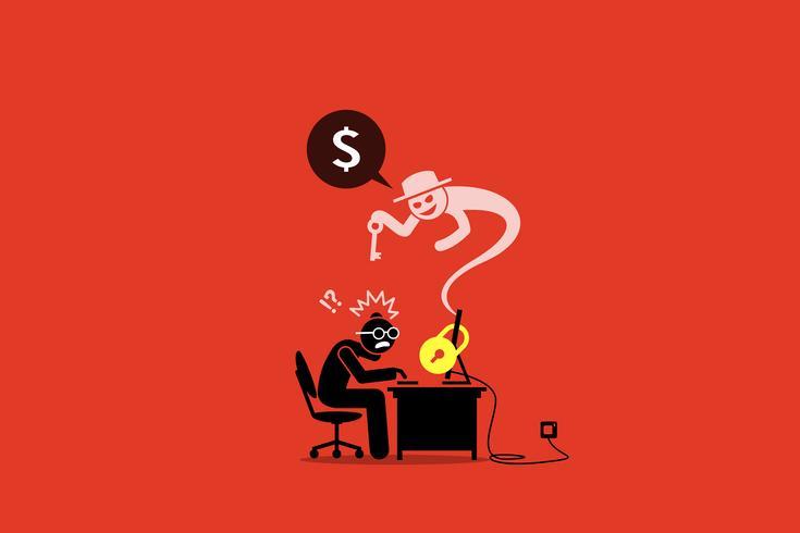 Ransomware vergrendelt een computer en vraagt om geld. vector