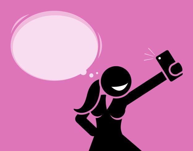 Meisje dat een selfiefoto met haar telefooncamera neemt. vector
