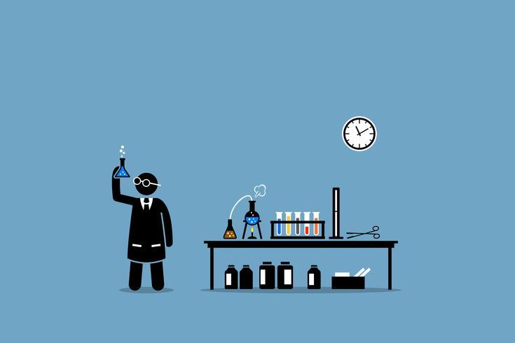 Wetenschapper die het resultaat van zijn chemisch laboratoriumexperiment onderzoekt. vector